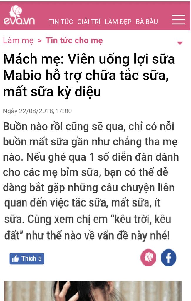 eva.vn đưa tin về Mabio