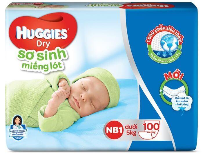 Miếng lót cho trẻ sơ sinh Huggies