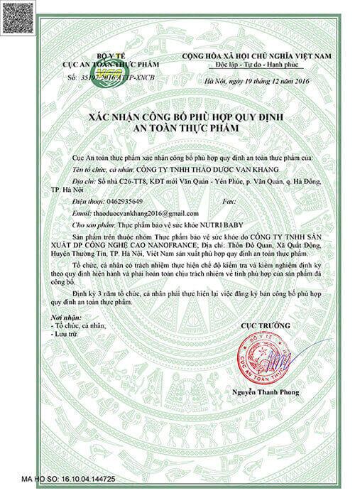 giấy chứng nhận Nutribaby đạt chuẩn bộ Y tế