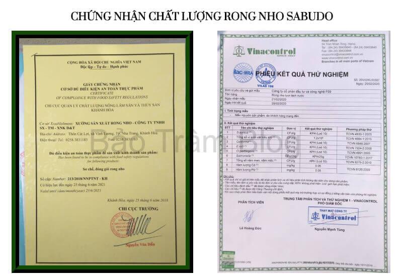 giấy chứng nhận rong nho Sabudo