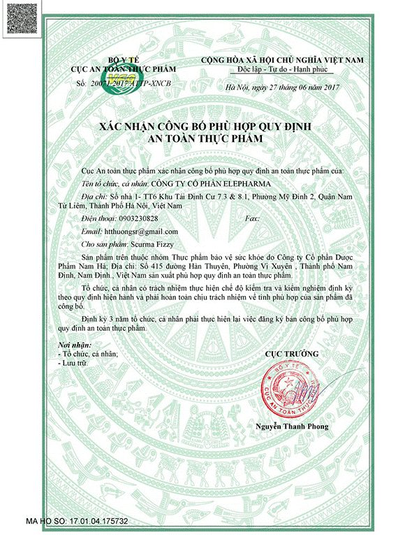 giấy phép sản phẩm SCuma Fizzy 2