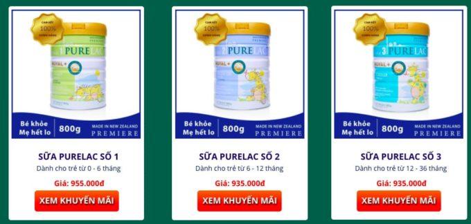 sữa Purelac giá bao nhiêu